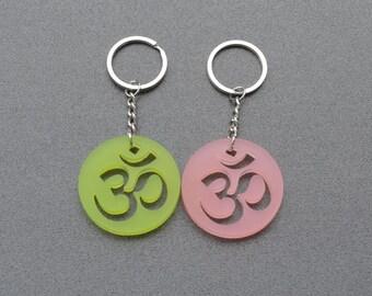 Om keychain, laser cut acrylic keychain, circle om keychain, perspex om keyring, sacred symbol, yoga keychain, spiritual art