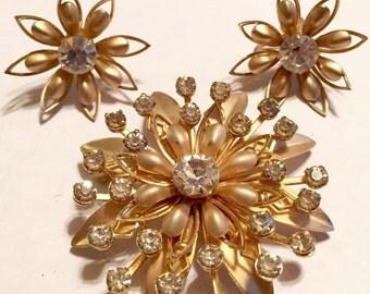 Vintage Gold Tone Rhinestone Flower Brooch and Earrings Set