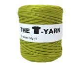 The t-shirt yarn 120-135 yards, 100% recycled cotton tricot yarn, olive 217