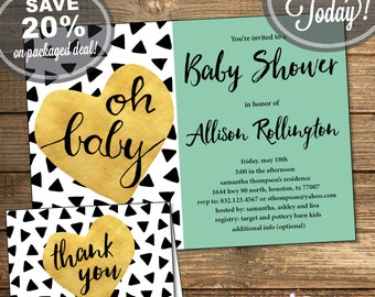 Baby Shower Package, Invitation, Thank You Card, Triangles, Aztec, Tribal, Black and White, Mint Green, Printable File (INSTANT Download)