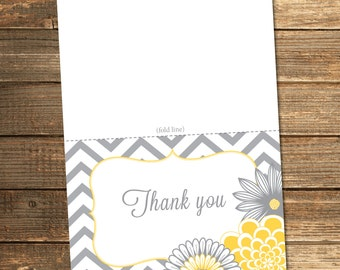 Chevron Thank You Card / Yellow and Grey Baby Shower / Neutral Baby Shower / Gray Chevron with Flowers / PRINTABLE FILE