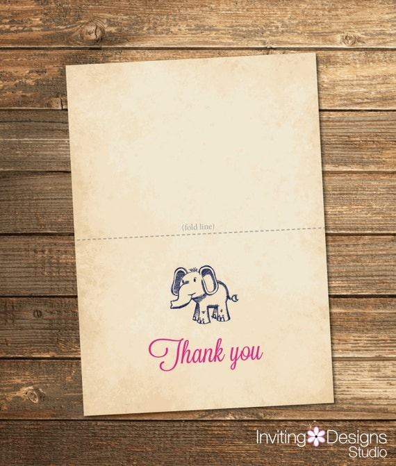 Vintage Baby Shower Thank You Cards: Items Similar To Safari Baby Shower Thank You Card / Navy