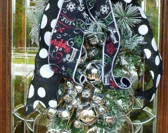 JINGLE BELL SNOWY Christmas Swag Wreath with Black and White Bow