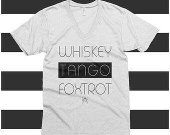 Funny T-Shirt Whiskey Tango Foxtrot - WTF - Ladies VNeck
