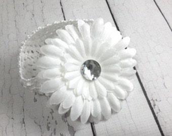 Daisy Flower Headband - baby Headbands - White Flower - Baby and Toddlers