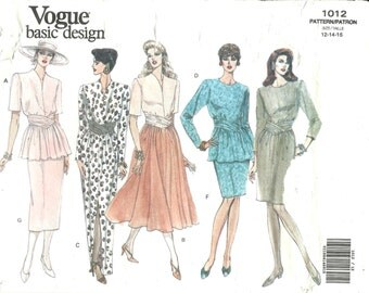 Vogue Basic Design Misses Dress or Top & Skirt (12-16) UNCUT