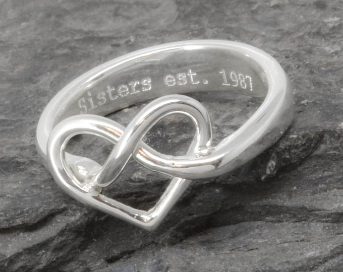 Infinity Ring, Heart Ring, Sterling Silver Ring, best friend, promise, personalized, friendship, sisters, mother daughter, Bridesmaid gift