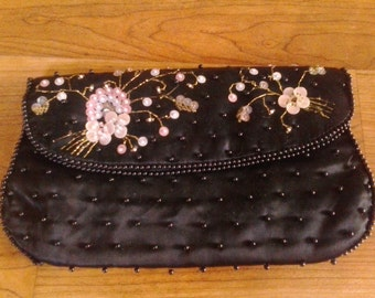 50s black beaded and sequin evening clutch by Dormar made in Japan