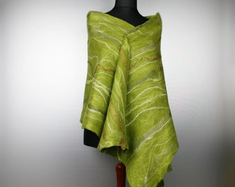 Large green felted scarf wrap - Nuno Shawl Wrap Shades of Green - OOAK Gift For Her - Green wool scarf - Ready to ship