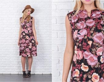 Vintage 70s Black + Mauve Mod Dress Floral Print Flower A Line Knee Length M 7468 vintage dress 70s dress black dress mauve dress medium