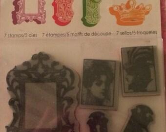 Spellbinders Shapeabilities Dies and Hampton Art Stamps ANTIQUITIES 5 dies 7 Stamps Frame Crown Locks Key Photos
