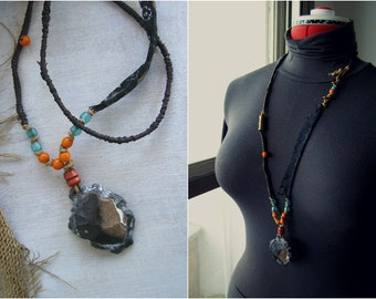 Savage Stone Necklace, Long Pendant Necklace, Black Orange Blue, Ethnic Jewelry Tribal Necklace OOAK Indie Jewelry, Art To Wear Mixed Media