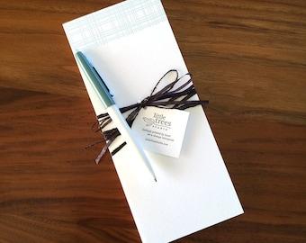 Letterpress Buckslips - Aqua Plaid Notecard