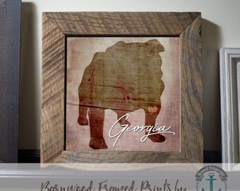 Bulldog and Georgia - Framed in Reclaimed Barnwood Hometown Mascot Decor - Handmade Ready to Hang | Size and Price via Dropdown
