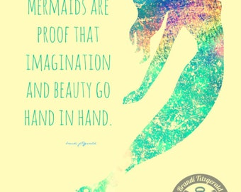 Rainbows and Mermaids Inspirational Quote Bold Colors Product Options and Pricing via Dropdown Menu