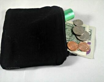 Black Coin Purse - Change Purse - Zipper Pouch - Credit Card Holder - Goth Coin Purse