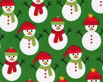 Snowmen on Green from Robert Kaufman's Jingle 4 Collection by Ann Kelle