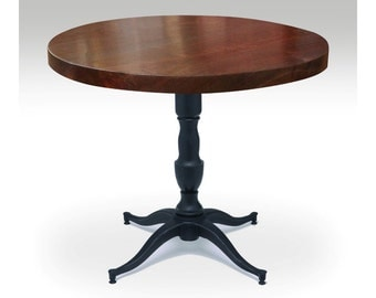 Round walnut bistro with Victorian base