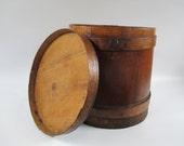 Wooden Bucket, Vintage Firkin Primitive Rustic Original with Lid, Brown Storage Display, Kitchen Ranch Farmhouse Cottage Decor