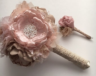 Fabric Flower Bouquet and Boutioneere Set - Small Bouquet, Small Boutionnere, Champagne and Pink, Blush, Bridesmaids and Groomsmen