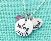 I Belong - Personalized Necklace Name and Swarovski Crystal - Hand Stamped by Eight9 Designs