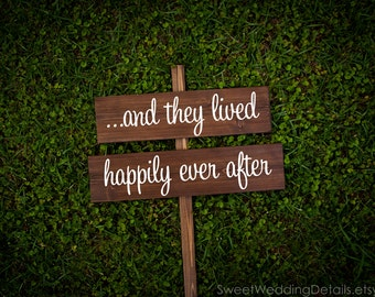 "Rustic Wedding Sign, ""...and they lived happily ever after"""