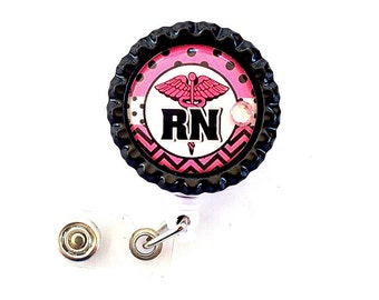 PINK RN Nurse Bottle Cap Retractable Badge Holder ID Reel  Worker Badge with Gem