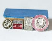 Lenin pins badges Soviet, red silver shades Lenin profile pins, set of 4 propaganda badges Lenin, Communist Party Soviet Union pin gift