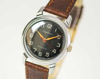 Black men's wristwatch Kirovskie, military watch him mid century rare, simple men watch 50s, classy men's watch, new premium leather strap