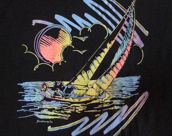 Vintage 80s Florida Sunset Sailing Black T-Shirt