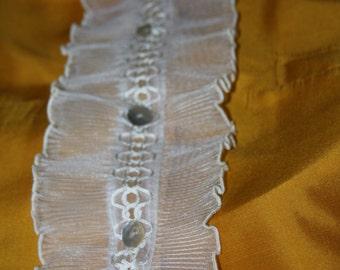 Ladies White Ruffle Blouse Bib - Removable