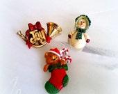 40% CLEARANCE Vintage HALLMARK Christmas Cuties - Holiday Brooches - Christmas Brooch - Snowman, Teddy Bear, French Horn