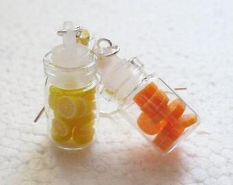 Jar of Fruit Earrings. Oranges And Lemons. Polymer Clay