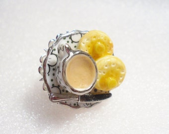 Tea And Crumpets Ring. Polymer Clay.
