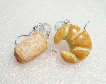 Croissant earrings . Polymer clay.