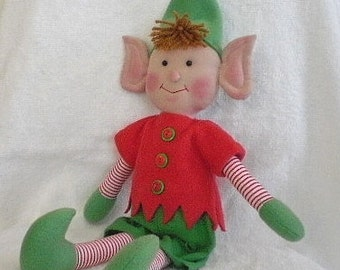 Christmas Elf Holiday Decoration Red And Green Elf Doll