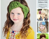 50% OFF SALE Crochet Earwarmers Pattern 026, Crochet Pattern, Crochet Headband Pattern, Ear Warmer Pattern