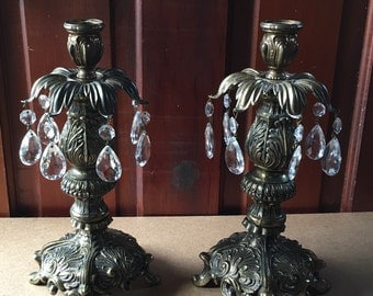 Vintage Pair of Ornate Brass Candleholders with Prisms