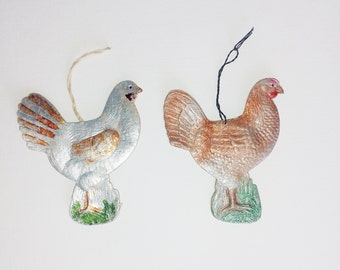 Paper ORNAMENTS, Christmas, Vintage, Collectible, Chicken, Soviet, FARMHOUSE decor