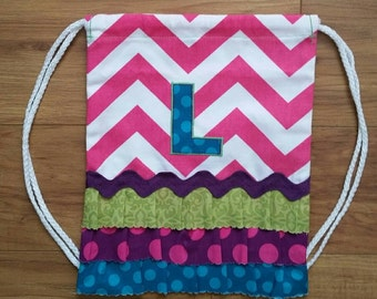 """SALE! Toddler Size PINK Chevron Drawstring Backpack with """"L"""" Monogram - Ready to ship"""