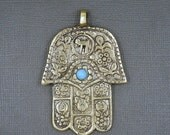 15% off Christmas in July Tibetan-style Hamsa Hands Pendant Brass with Turquoise Colored stone (S75B6)