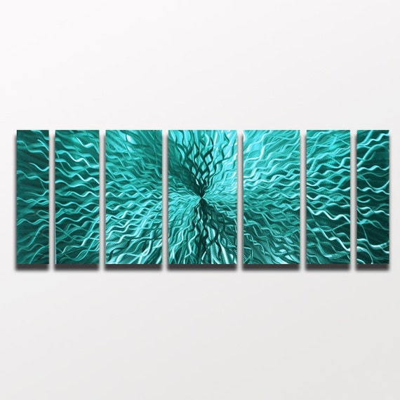 Wall Art Metal Panels : Large metal wall art sculpture panels turquoise