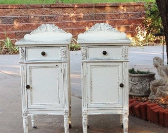 15% OFF AMAZING Shabby Chic Nightstands. You Order. We Find, Restore, Adorn and Paint. You CHERISH! Restored Antique Nightstands