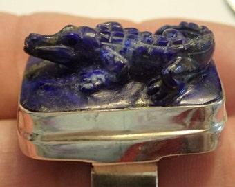 Carved Lapis Lazuli Alligator / Crocodile  Sterling Silver Ring. Adjustable