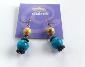 Vintage Clair's Earrings, Turquoise Beaded Dangles, New On Card