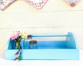 Wood TOOL TOTE | Wood Tool Caddy | Large Tool Box/Trug | Aqua Blue Garden Tote | Industrial Storage Box / Shelf | Wide Art Tray |