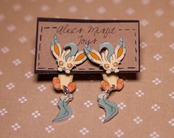 Eeveelutions Leafeon Clinging Faux Gauge Earrings