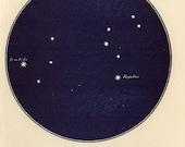 Vintage 1920 Edwardian LEO LION Map 16 Stars astronomy print star chart zodiac constellations Celestial Maps