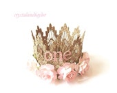Ready to Ship, First Birthday Crown, Pale Pink Flower Crown, Lace Crown, Gold Crown, Birthday Tiara, Baby Girl Crown