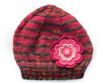 Older Girls / Adult . Raspberry Pink Wool Beanie Hat & Big Flower / Buttons. Age: 10 11 12 Teen to Adult . Gift Idea .